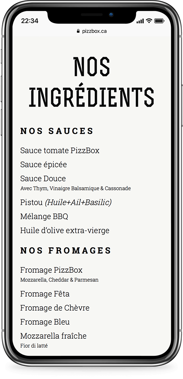 Mobile example for pizzbox