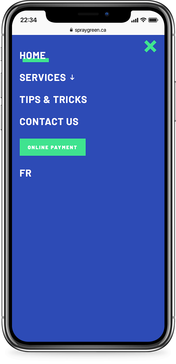 Mobile example for spray-green